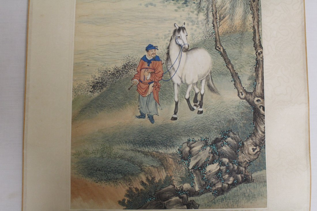Chinese unframed watercolor panel - 9