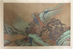 A Chinese unframed antique watercolor panel