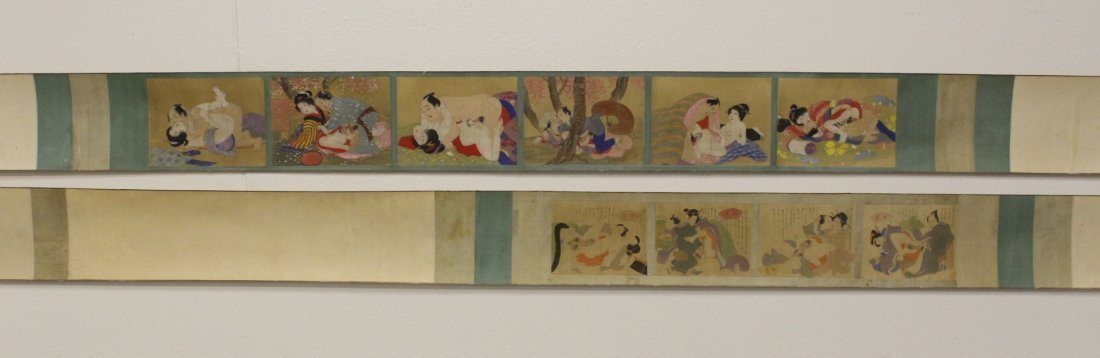 2 Japanese antique watercolor hand scrolls