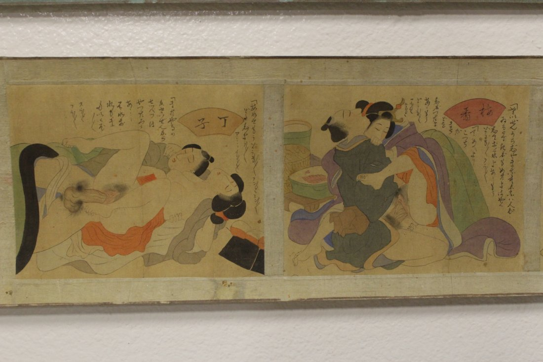 2 Japanese antique watercolor hand scrolls - 7