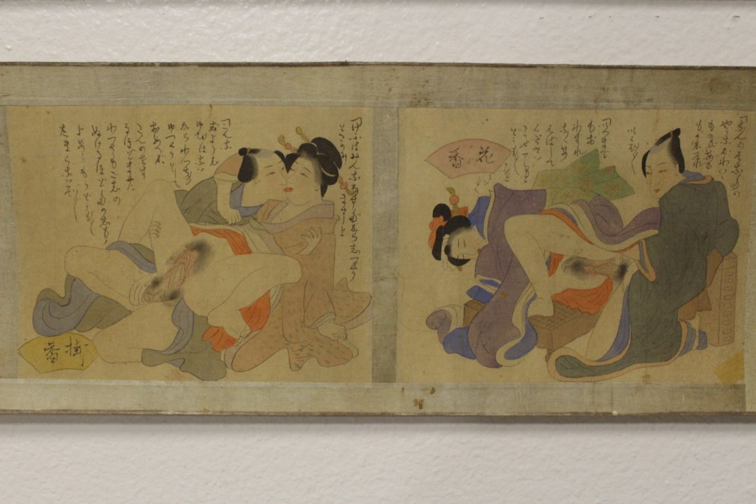 2 Japanese antique watercolor hand scrolls - 8