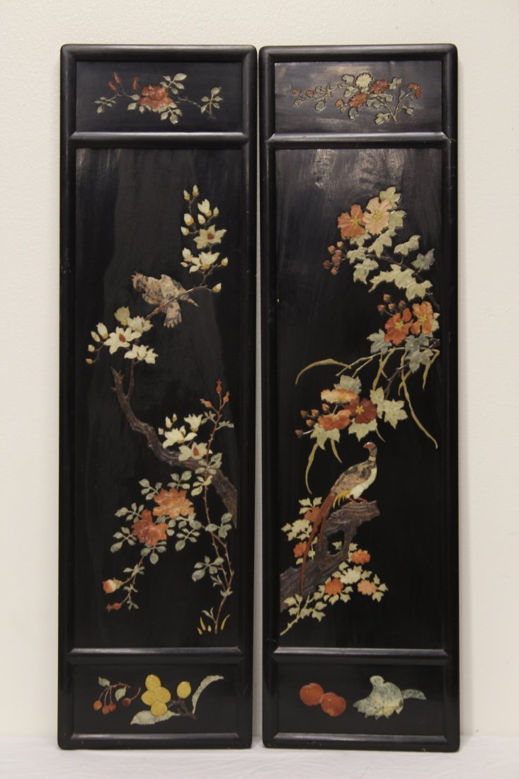 Pr Chinese 19th/20th c. plaques w/ stone overlay