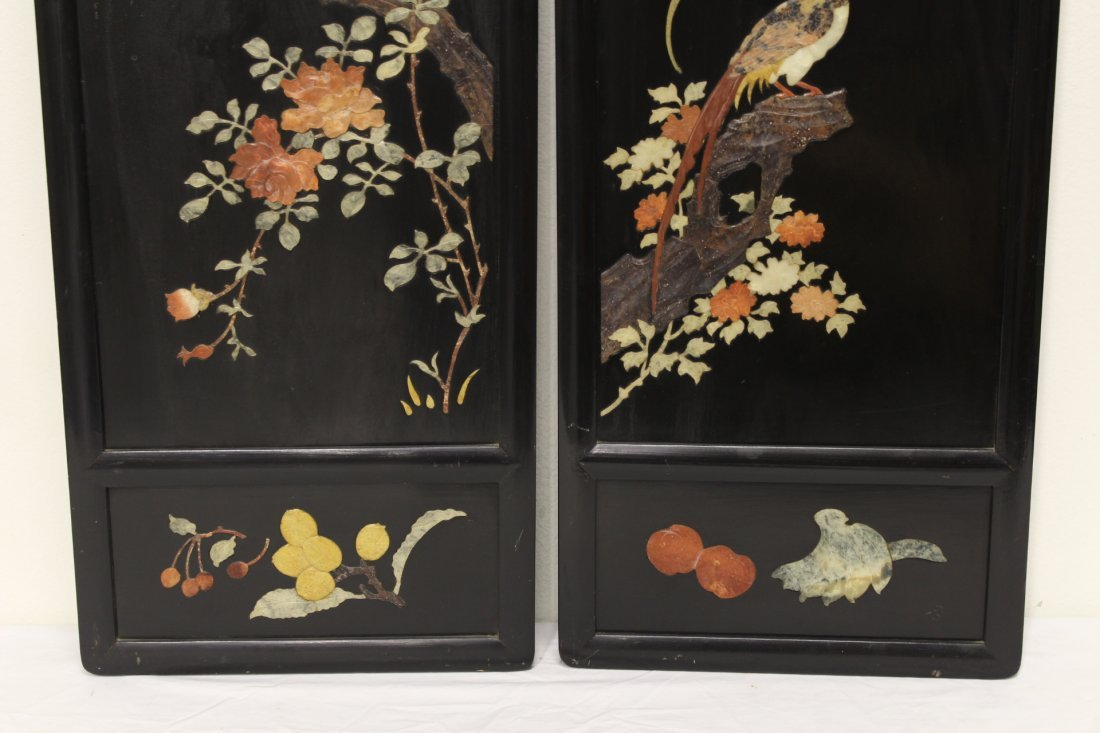 Pr Chinese 19th/20th c. plaques w/ stone overlay - 2