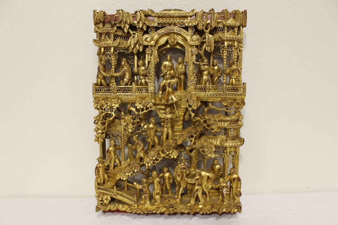 Chinese antique gilt wood wall plaque