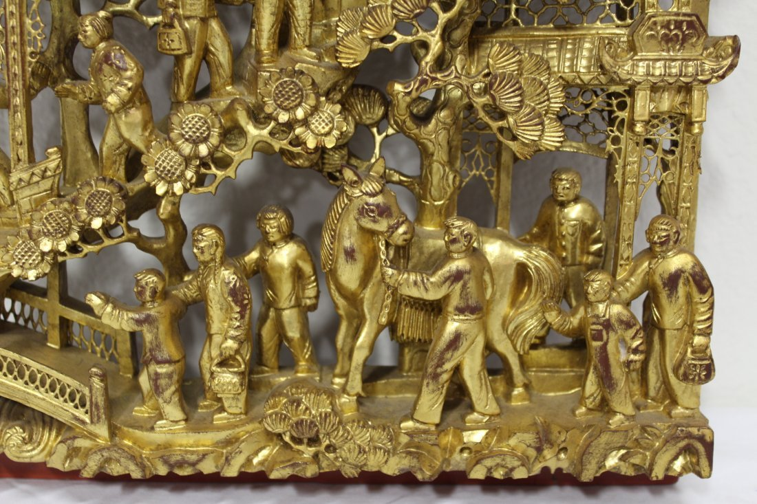 Chinese antique gilt wood wall plaque - 8