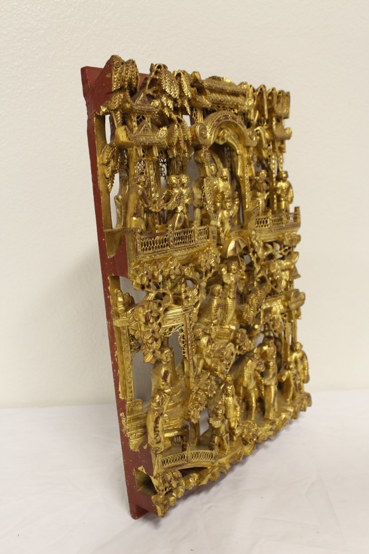 Chinese antique gilt wood wall plaque - 9