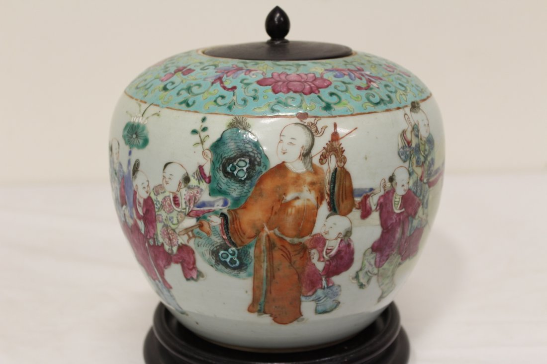 Chinese antique famille rose porcelain jar - 2