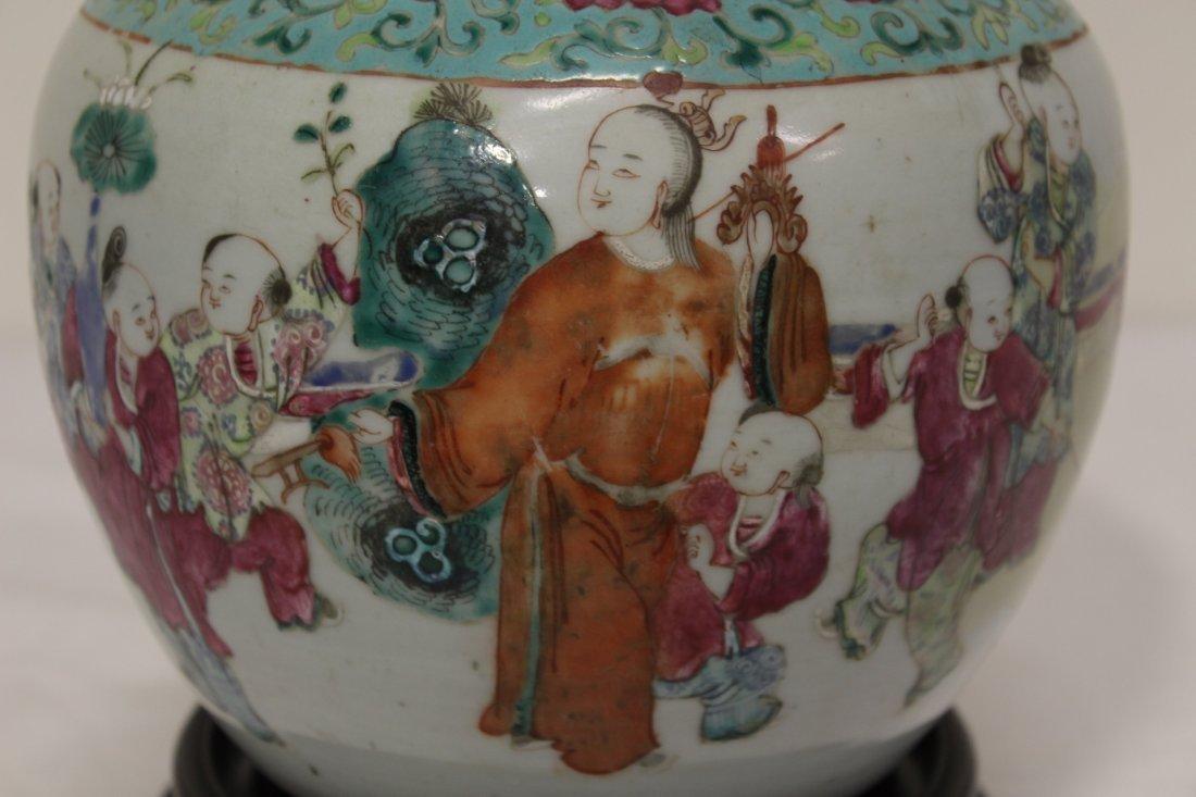 Chinese antique famille rose porcelain jar - 3