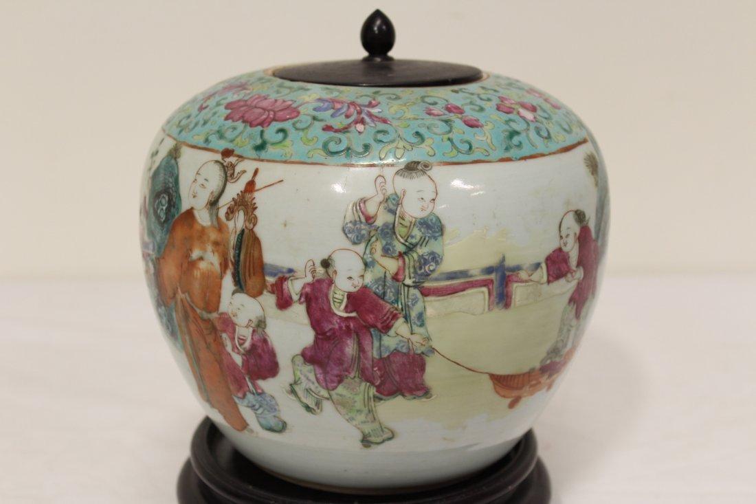 Chinese antique famille rose porcelain jar - 4