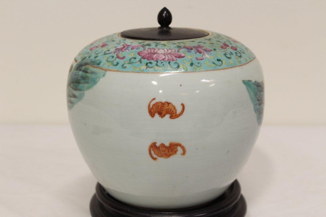 Chinese antique famille rose porcelain jar - 6