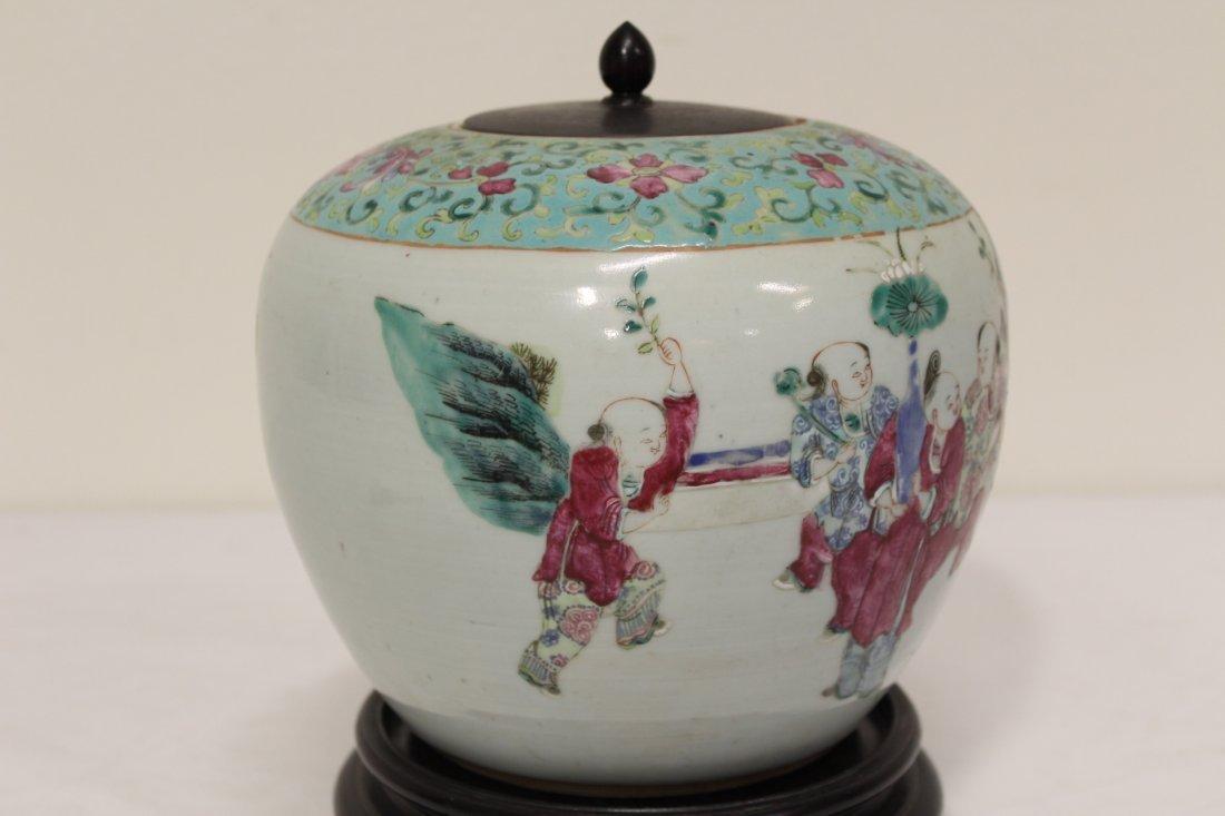 Chinese antique famille rose porcelain jar - 7