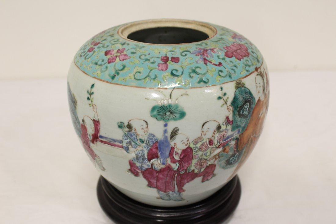 Chinese antique famille rose porcelain jar - 8