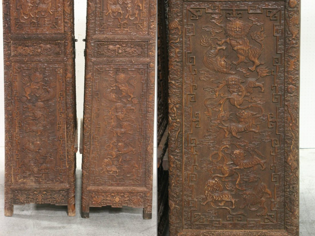 Pair Chinese beautifully carved hardwood cabinet - 10