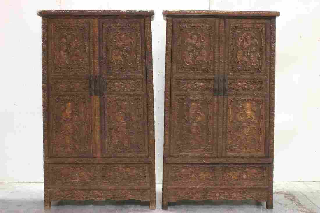 Pair Chinese beautifully carved hardwood cabinet
