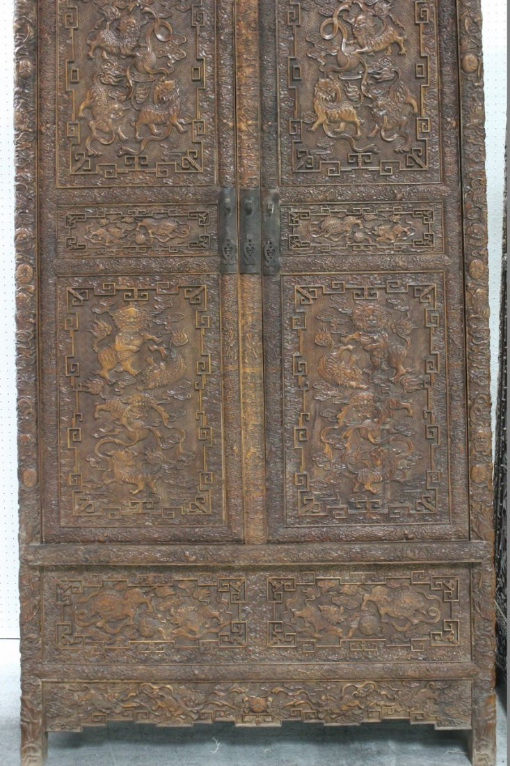 Pair Chinese beautifully carved hardwood cabinet - 2