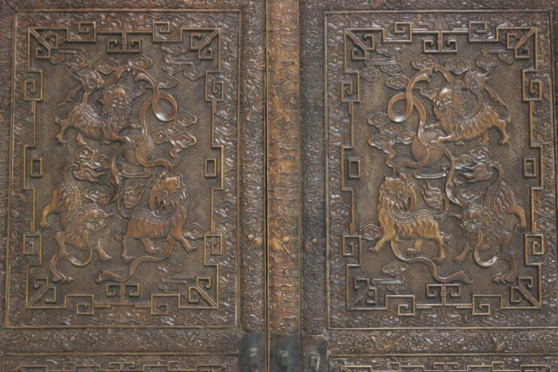 Pair Chinese beautifully carved hardwood cabinet - 4