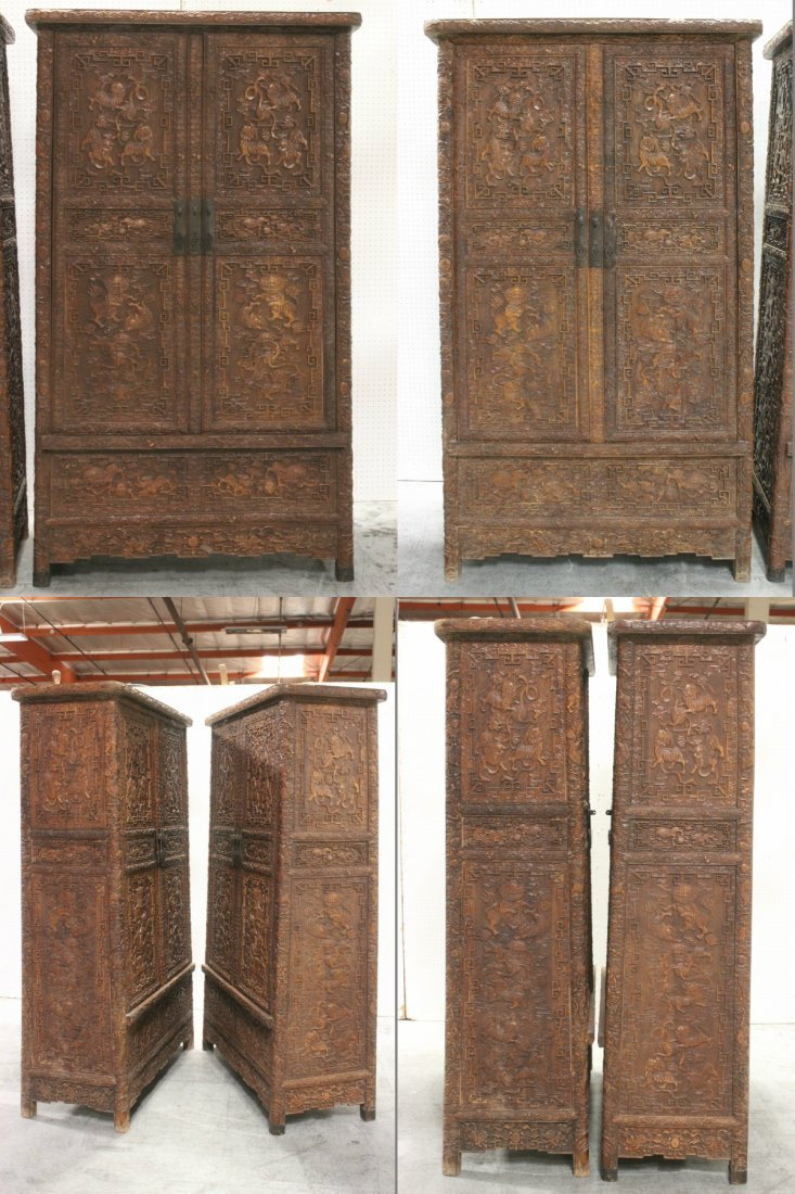 Pair Chinese beautifully carved hardwood cabinet - 5