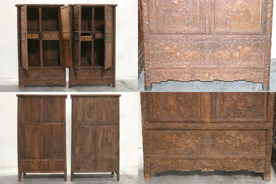 Pair Chinese beautifully carved hardwood cabinet - 6