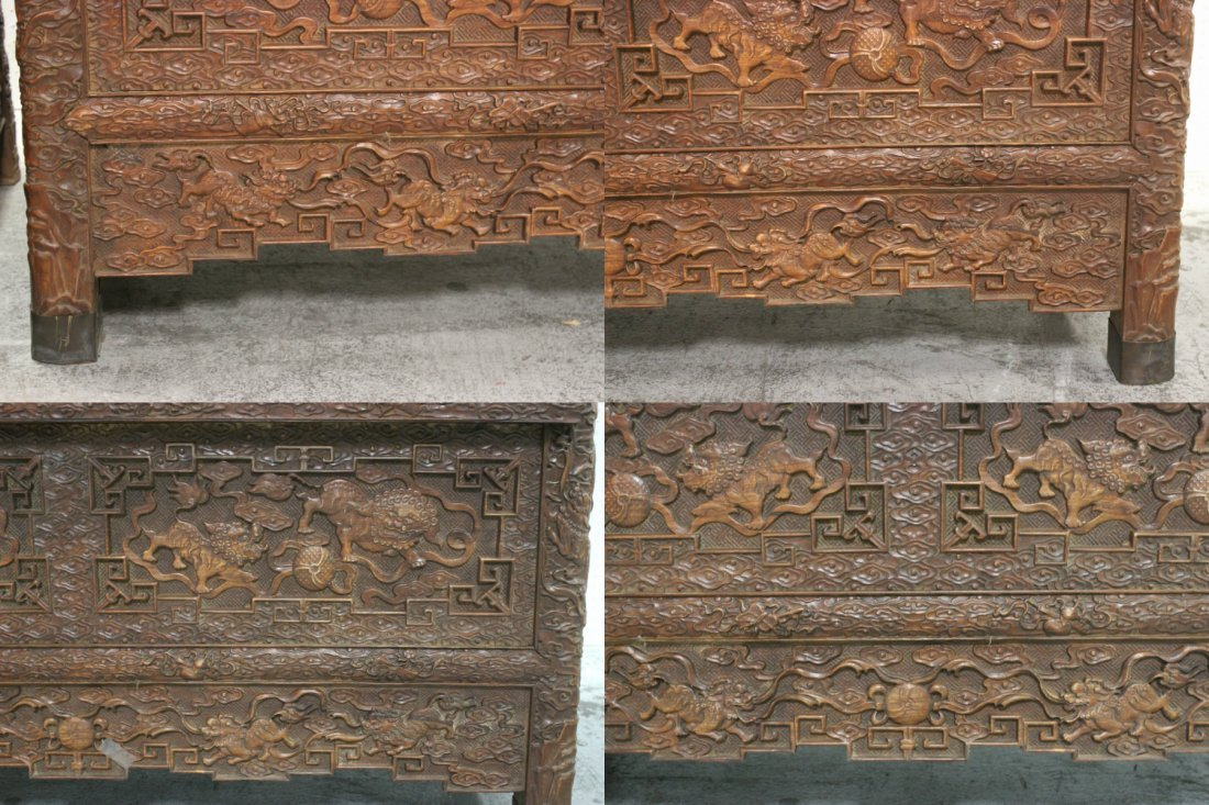Pair Chinese beautifully carved hardwood cabinet - 7