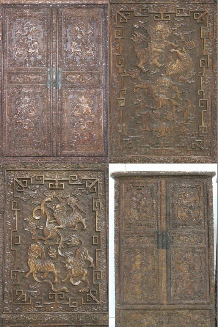 Pair Chinese beautifully carved hardwood cabinet - 8