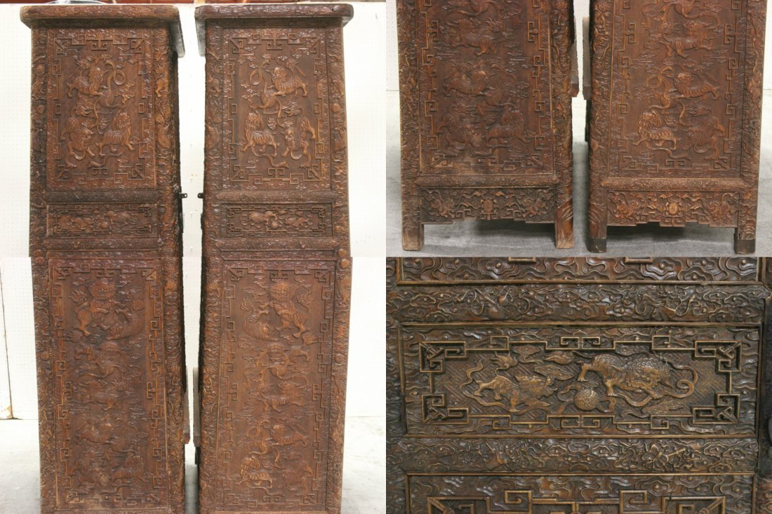 Pair Chinese beautifully carved hardwood cabinet - 9