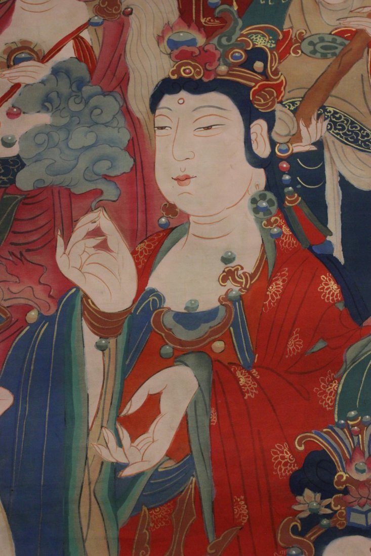 A large Chinese unframed watercolor on silk - 10