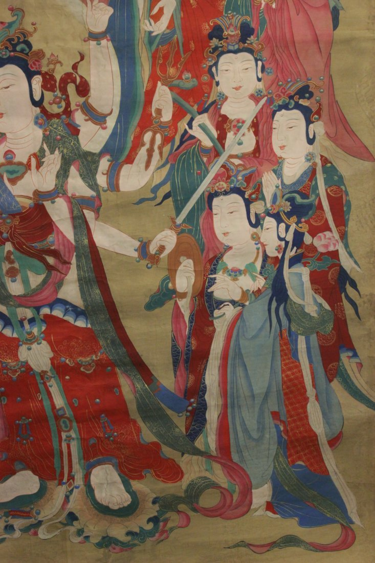 A large Chinese unframed watercolor on silk - 2