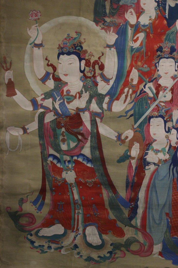 A large Chinese unframed watercolor on silk - 3