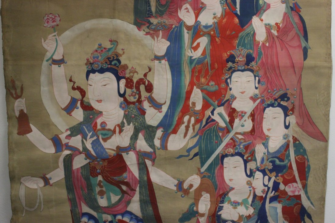 A large Chinese unframed watercolor on silk - 4