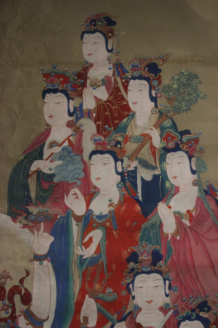 A large Chinese unframed watercolor on silk - 5