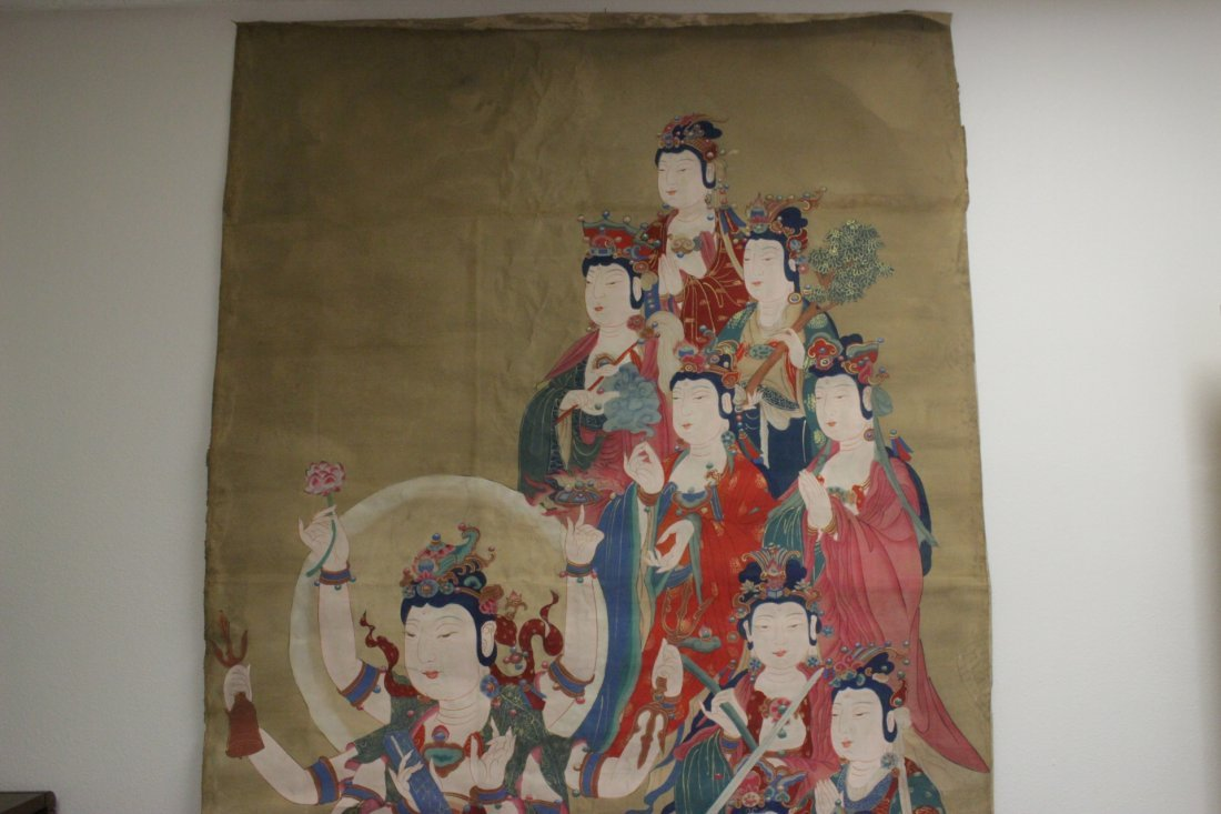 A large Chinese unframed watercolor on silk - 6