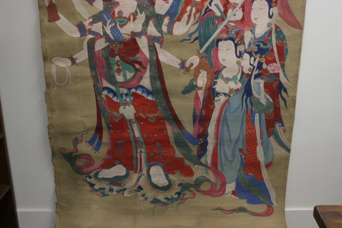 A large Chinese unframed watercolor on silk - 7