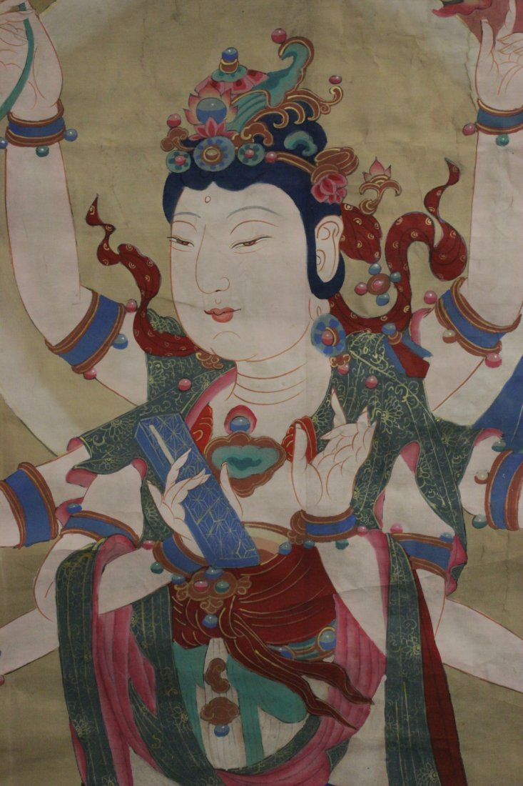 A large Chinese unframed watercolor on silk - 8