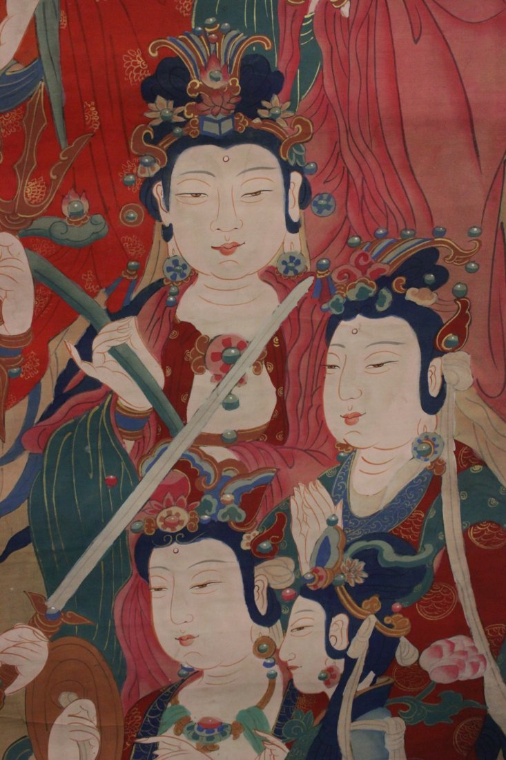 A large Chinese unframed watercolor on silk - 9