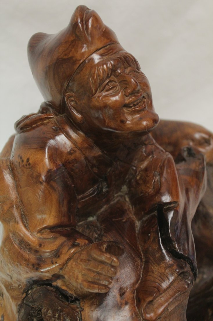 Chinese root wood carved Daoism god - 10