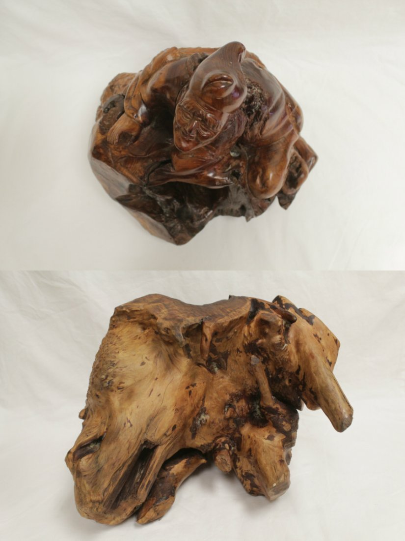 Chinese root wood carved Daoism god - 4