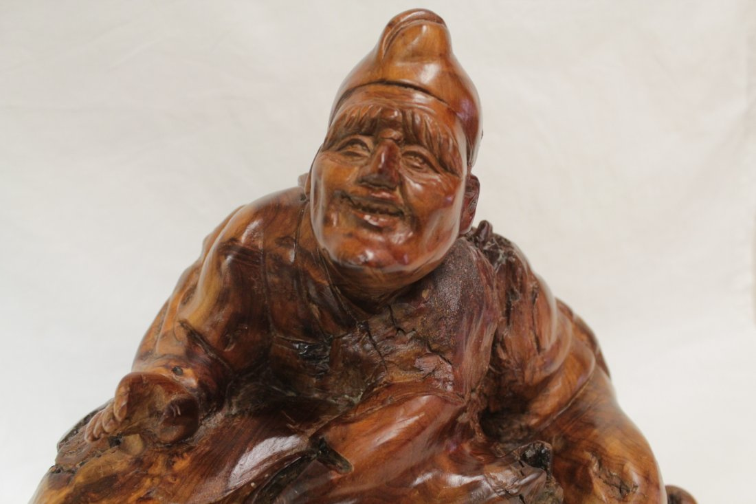 Chinese root wood carved Daoism god - 5