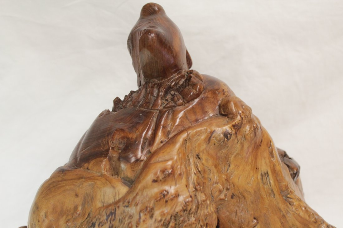 Chinese root wood carved Daoism god - 7