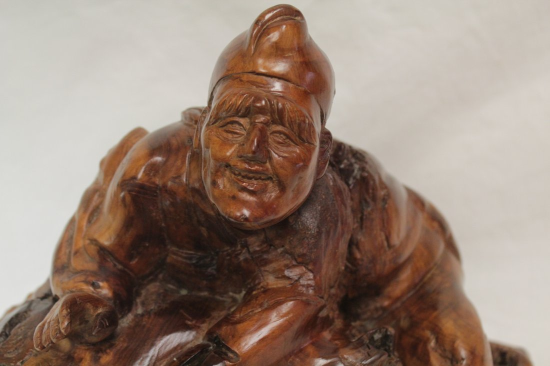 Chinese root wood carved Daoism god - 9