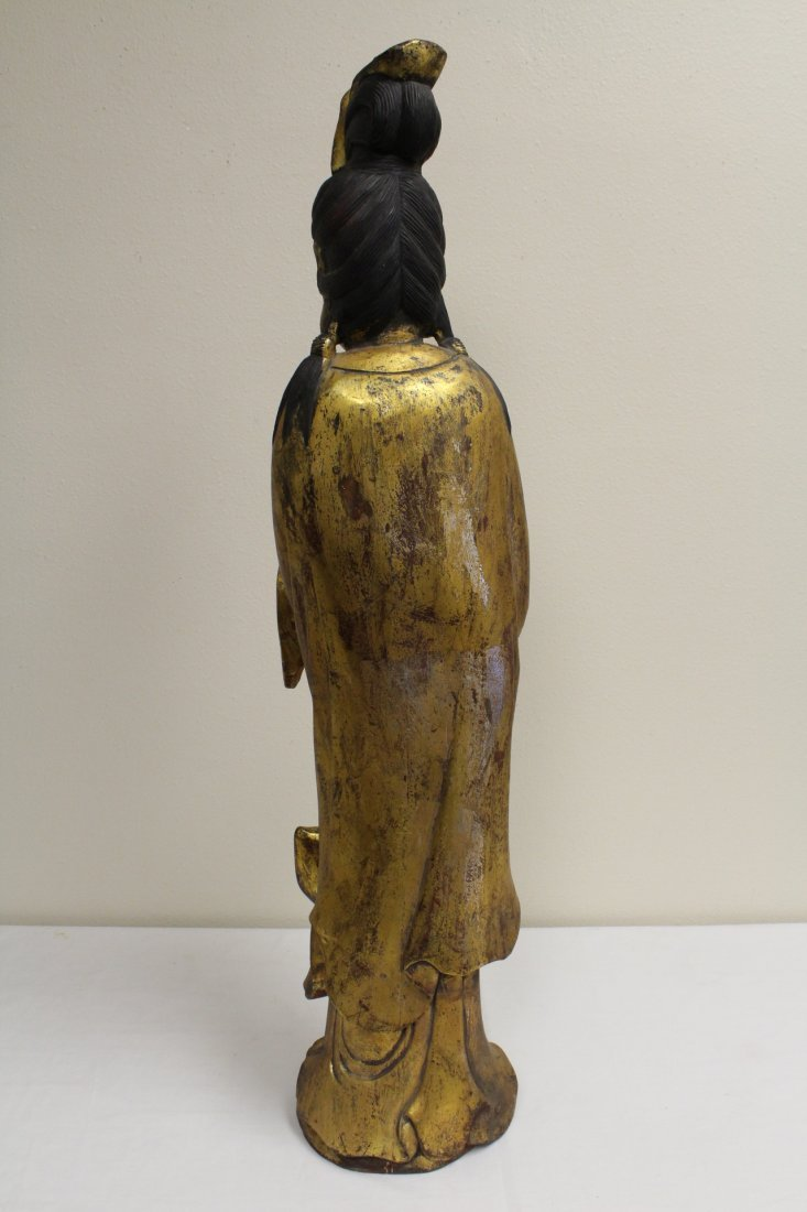 Large Chinese gilt wood Guanyin - 7