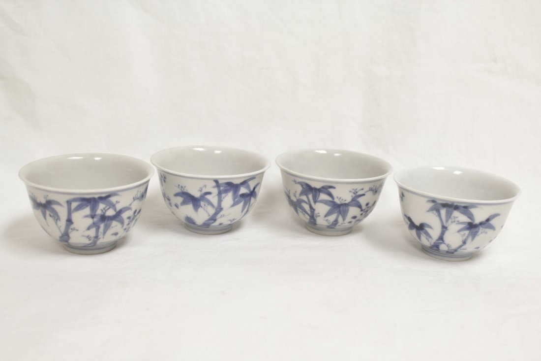 4 Chinese blue and white porcelain cups