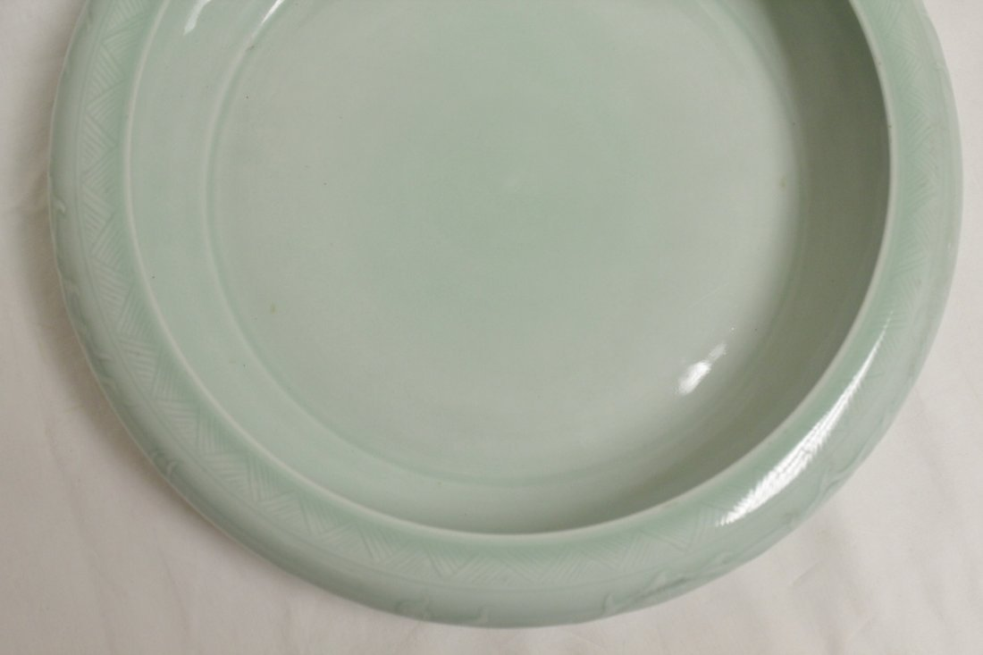 Chinese celadon porcelain large brush wash - 8