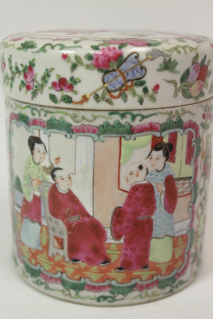 Chinese vintage famille rose porcelain candy jar - 8