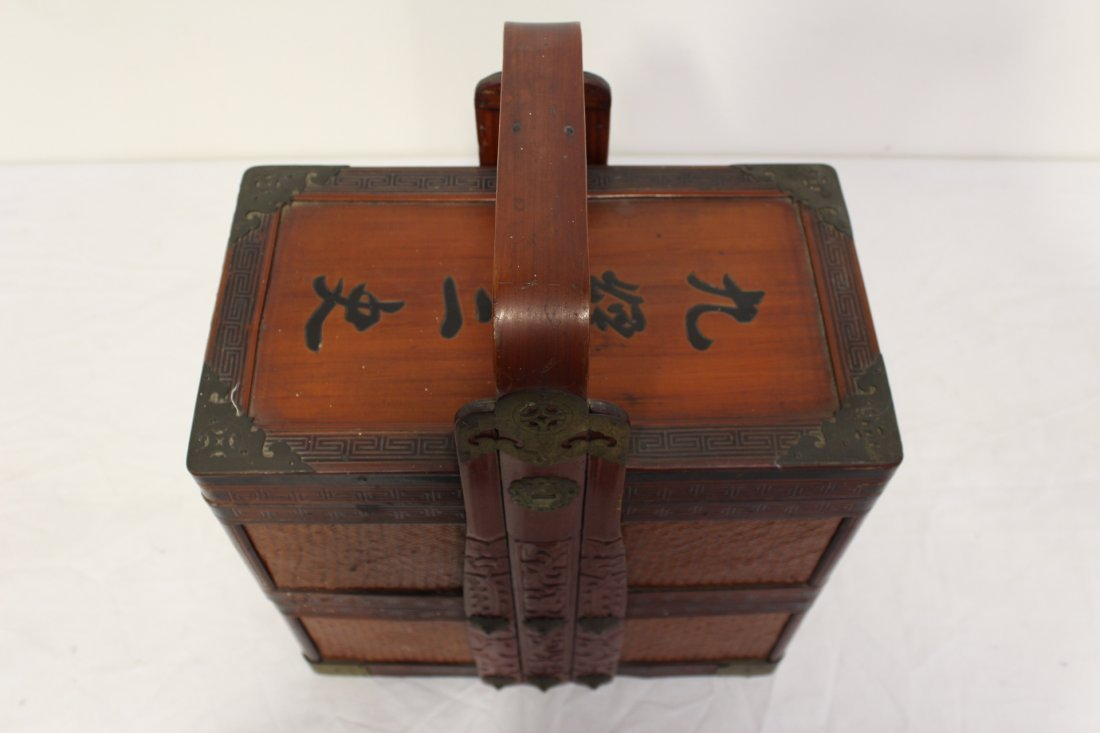 Chinese antique bamboo carrying case for books - 2