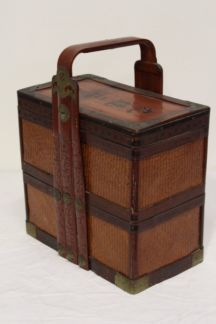 Chinese antique bamboo carrying case for books - 3