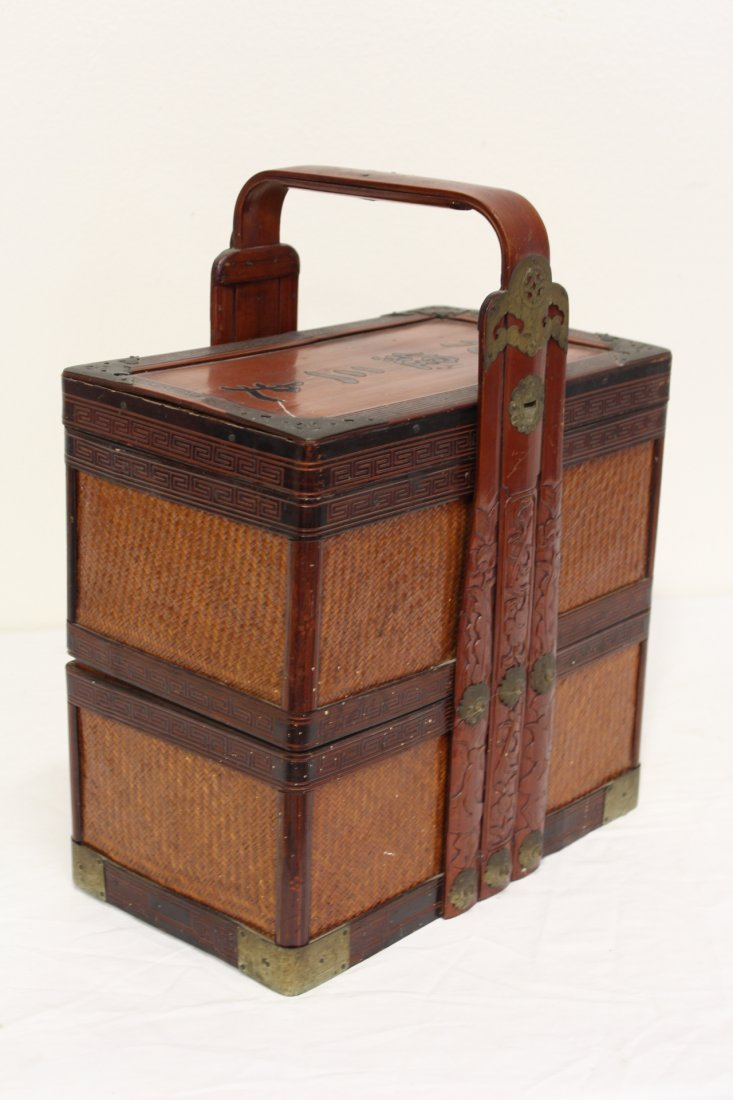 Chinese antique bamboo carrying case for books - 4