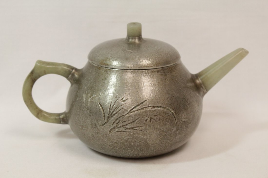 Chinese Yixing teapot with jade sprout & handle - 2