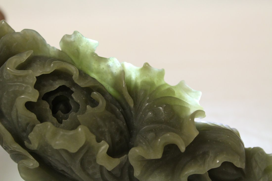 Chinese celadon jade like carved cabbage - 9