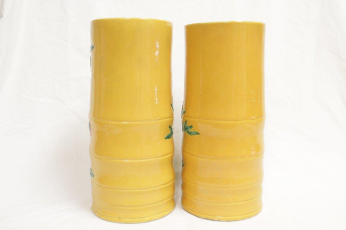 Pair Chinese porcelain hat vases - 3