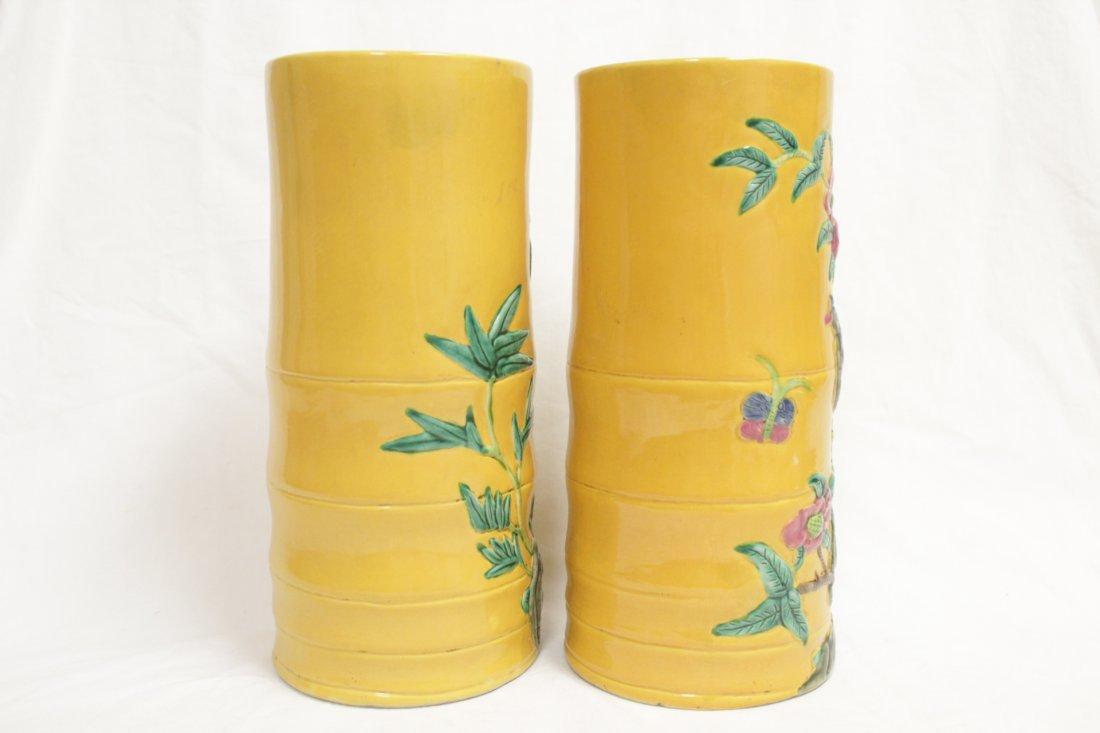 Pair Chinese porcelain hat vases - 4